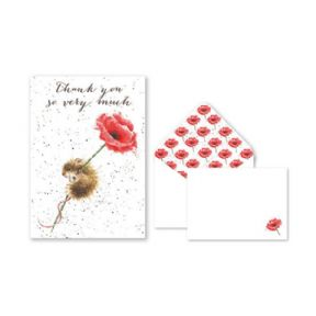 Wrendale Mouse & Poppy Pack of 8 Thank You Cards